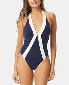 Vince Camuto Colorblocked Halter-Neck One-Piece Swimsuit