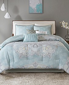 Lucinda Cotton Reversible 7-Pc. Queen Comforter Set