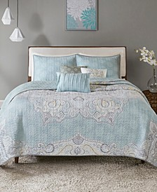 Lucinda 6-Pc. Full/Queen Reversible Cotton Sateen Coverlet Set