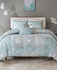 Madison Park Lucinda Cotton Reversible 6-Pc. Full/Queen Duvet Cover Set