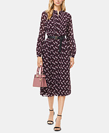 MICHAEL Michael Kors Printed Belted Pleated Dress