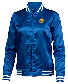 Antigua Women's Golden State Warriors Strut Satin Bomber Jacket