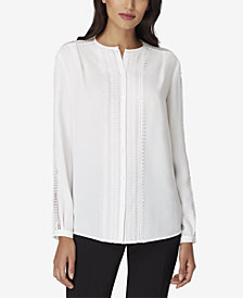 Tahari ASL Crochet Lace-Trim Blouse