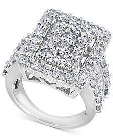Diamond Square Cluster Ring (4 ct. t.w.) in 14k White Gold