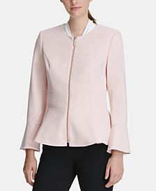 DKNY Peplum Scuba Crepe Zip Jacket, Created for Macy's