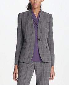 DKNY Collarless Plaid Menswear Jacket, Created for Macy's