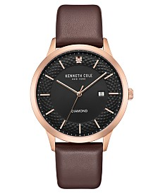 Kenneth Cole New York Men's Diamond Brown Leather Strap Watch 41mm
