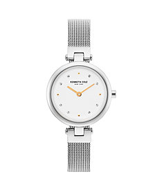 Kenneth Cole New York Ladies Silver Mesh Bracelet Watch 28mm
