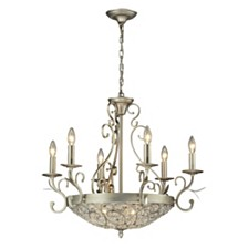 Andalusia Collection 6+3 light chandelier in Aged Silver