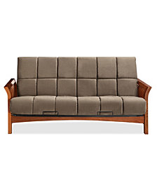 "Simmons Boston Vintage Oak Futon Frame with 8"" Beauty rest Panel Quilted Pocketed Coil Innerspring Futon Mattress"