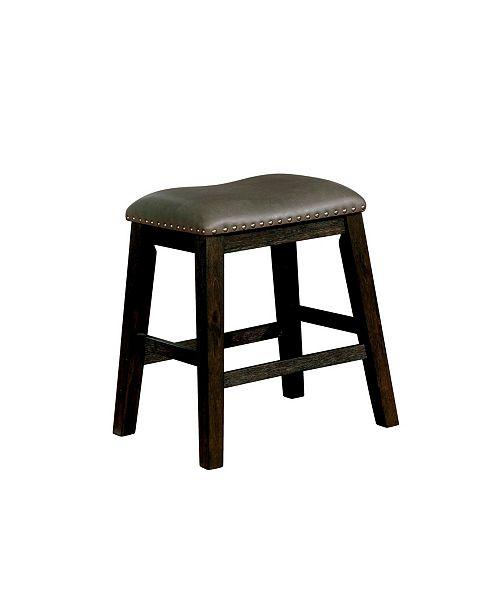 Furniture Calliope Dark Walnut Leatherette BarsTool (Set of 2)