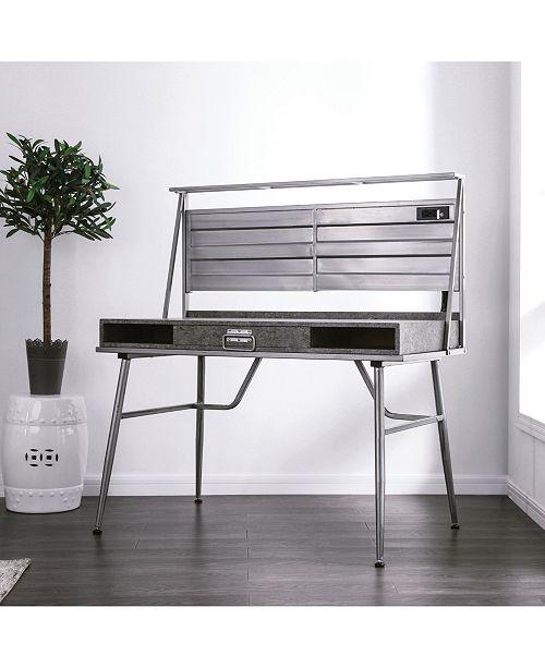 Furniture of America Jairo Metal USB Outlet Desk