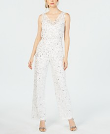 Adrianna Papell Sequin-Embellished Jumpsuit