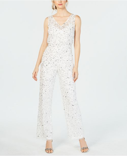 d46cc55192f ... Adrianna Papell Sequin-Embellished Jumpsuit ...