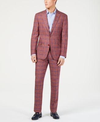 Men's Modern-Fit Brick/Blue Windowpane Linen Suit Pants