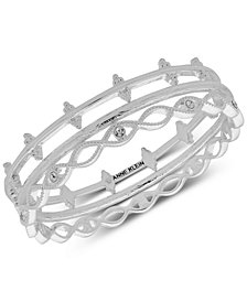 Anne Klein Silver-Tone 3-Pc. Set Crystal Bangle Bracelets, Created for Macy's