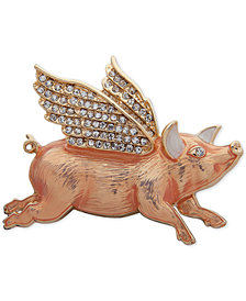 Anne Klein Gold-Tone Pavé Flying Pig Pin, Created for Macy's