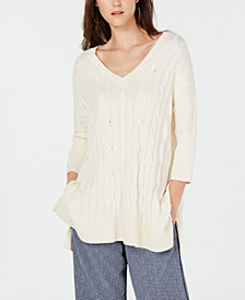 MICHAEL Michael Kors V-Neck Cable-Knit Sweater Poncho