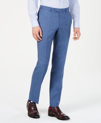 Men's Modern-Fit Medium Blue Micro-Grid Suit Pants