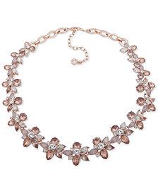 "Anne Klein Rose Gold-Tone Crystal Flower Collar Necklace, 16"" + 3"" extender"