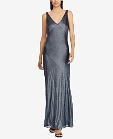 Lauren Ralph Lauren Metallic Sleeveless Gown