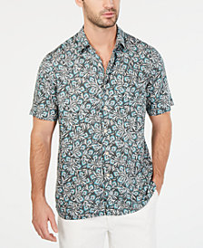 Tasso Elba Men's Vedere Floral-Print Silk Blend Shirt, Created for Macy's