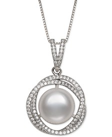 "Cultured Freshwater Pearl (11mm) & Cubic Zirconia 18"" Pendant Necklace in Sterling Silver"