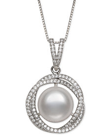 """Cultured Freshwater Pearl (11mm) & Cubic Zirconia 18"""" Pendant Necklace in Sterling Silver"""