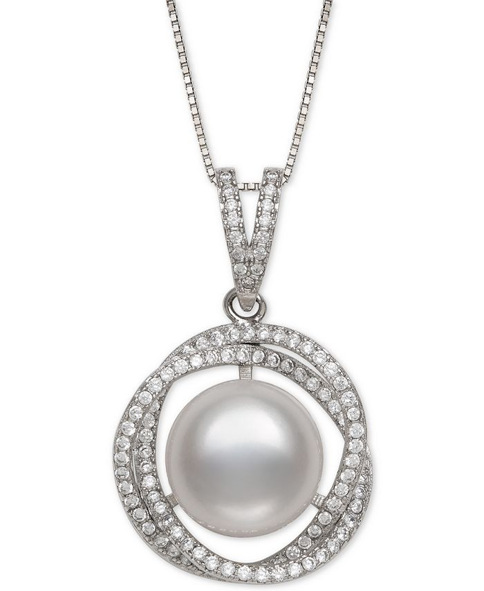 """Belle de Mer - Cultured Freshwater Pearl (11mm) & Cubic Zirconia 18"""" Pendant Necklace in Sterling Silver"""