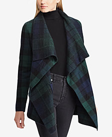 Lauren Ralph Lauren Petite Checkered Wool Shawl Sweater