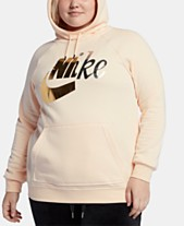 84ad697427d4 Nike Plus Size Sportswear Fleece Rally Metallic-Logo Hoodie