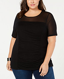 I.N.C. Plus Size Ruched Illusion Top, Created for Macy's