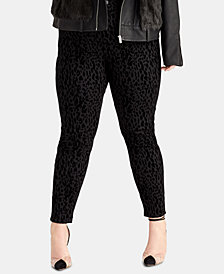 RACHEL Rachel Roy Trendy Plus Size Leopard-Print Skinny Jeans, Created for Macy's