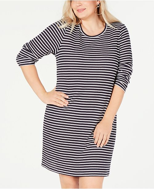 9dc141d3629 Michael Kors Plus Size Striped Long-Sleeve T-Shirt Dress   Reviews ...