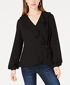 BCX Juniors' Ruffled Wrap Top