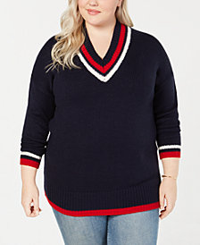 Say What? Trendy Plus Size Varsity-Stripe V-Neck Sweater