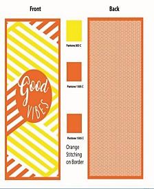 Premium High Performance Large Beach  Pool Towel Good Vibes, Yellow By MinxNY