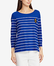 Lauren Ralph Lauren Petite Crest Striped Top