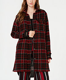 STELLA + GINGER Plaid Lace-Contrast Shirt Jacket