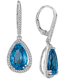 Blue Topaz (10 ct. t.w.) & White Topaz (1 ct. t.w.) Drop Earrings in 14k White Gold