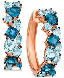 Blue Topaz Hoop Earrings (5-3/8 ct. t.w.) in 14k Rose Gold