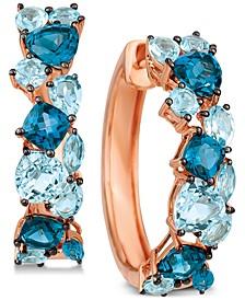 Blue Topaz Hoop Earrings (5-3/8 ct. t.w.) in 14k Rose Gold