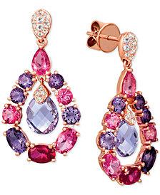 Le Vian® Multi-Gemstone (8-3/8 ct. t.w.) & Diamond Accent Orbital Drop Earrings in 14k Rose Gold