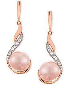 Honora Blush Cultured Freshwater Pearl (8mm) & Diamond (1/3 ct. t.w.) Drop Earrings in 14k Rose Gold