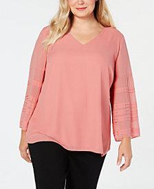 Alfani Plus Size Illusion-Sleeve Top, Created for Macy's