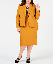 Kasper Plus Size One-Button Blazer, Pleat-Neck Shell & Pencil Skirt