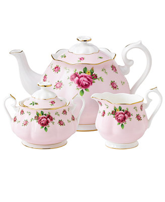 Royal Albert Old Country Roses Pink Vintage 3 Piece Tea Set Amp Reviews Fine China Macy S