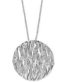 "EFFY® Diamond Openwork Disc 18"" Pendant Necklace (3/4 ct. t.w.) in 14k White Gold"