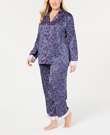 Charter Club Plus Size Notch-Collar Top & Pajama Pants Sleep Separates, Created for Macy's