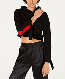 Waisted Striped Cropped Hoodie